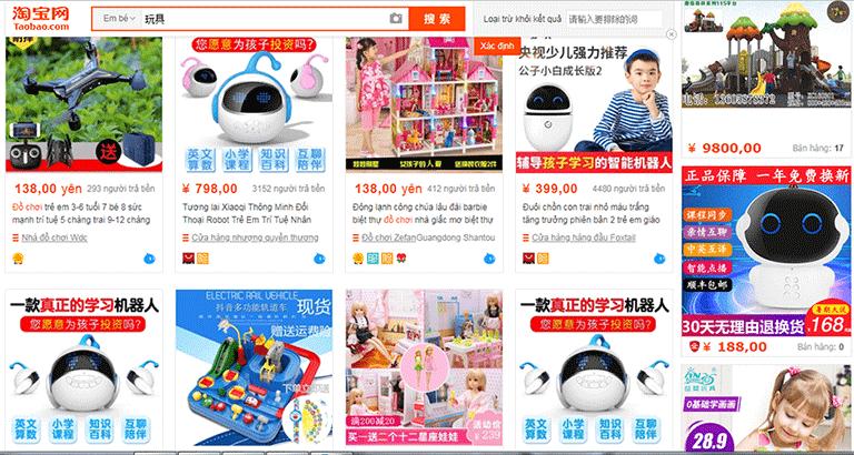 Nhập hàng đồ chơi trẻ em trên Web TMĐT Trung Quốc