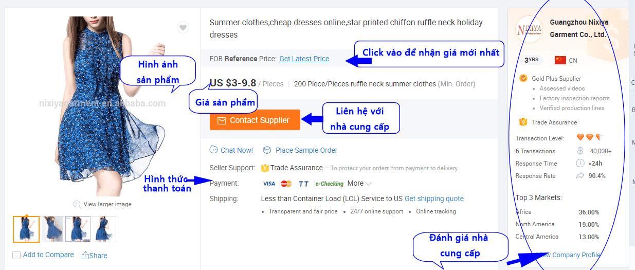 Xem chi tiết thông tin sản phẩm trên Alibaba