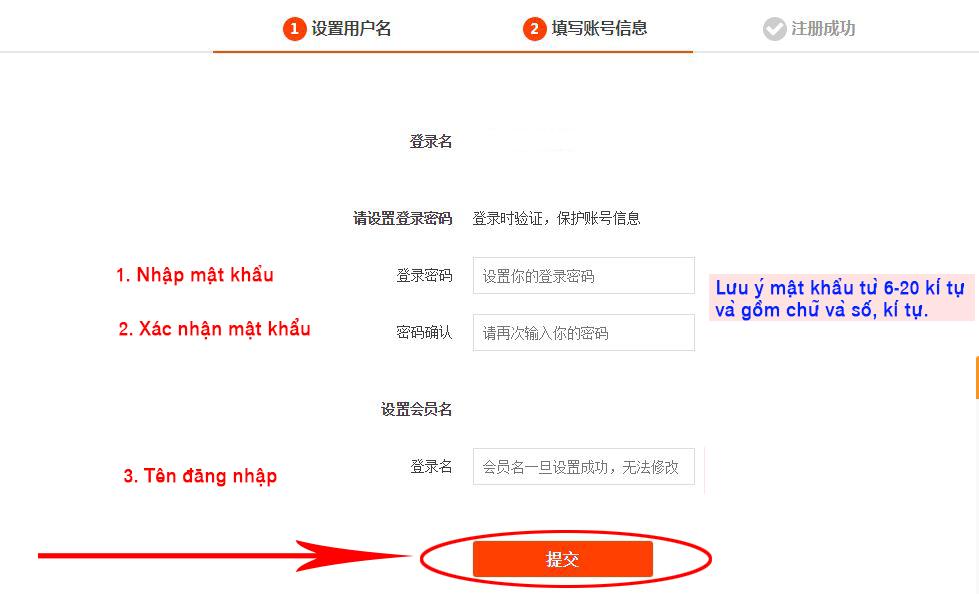 Nhập mật khẩu - tên đăng nhập để đăng ký tài khoản