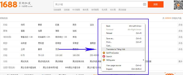 Dịch web 1688 sang tiếng Việt