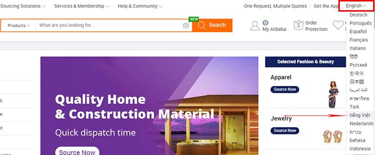 Chuyển giao diện Alibaba về tiếng Việt để dễ dàng sử dụng