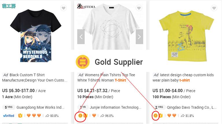 Biểu tượng nhà cung cấp vàng trên Alibaba