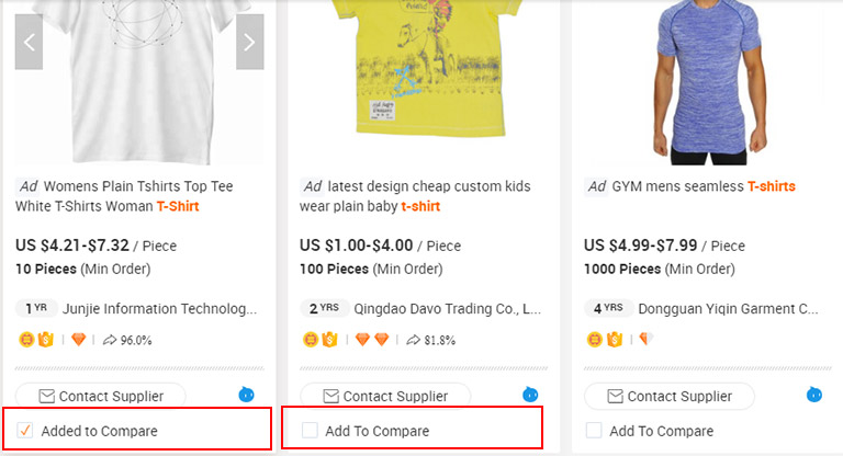 Tích chọn so sánh sản phẩm trên Alibaba