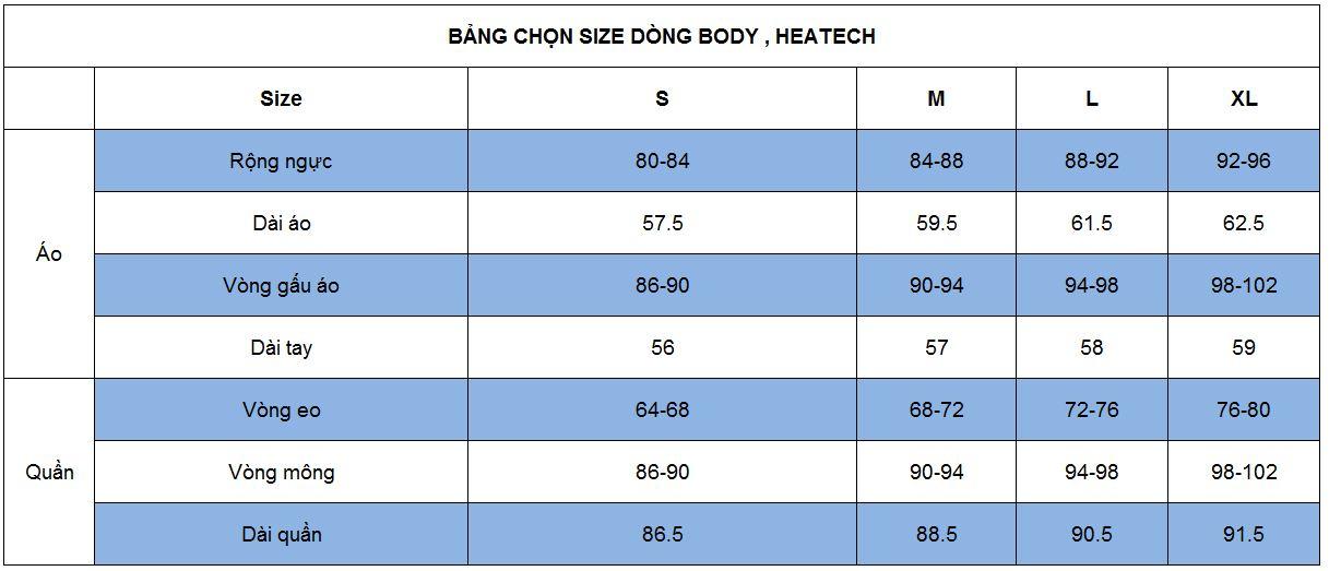Hướng dẫn chọn size quần áo body, heatech cho nữ