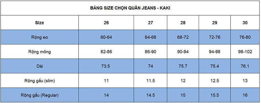 Chọn size quần jean/ kaki cho nữ khi order quần áo Trung Quốc