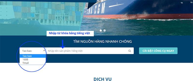 Tìm kiếm thông qua thanh tìm kiếm trên Hải Tàu Logistics