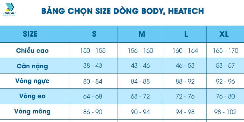 Bảng size chọn quần áo nam nữ chung khi order Taobao Trung Quốc