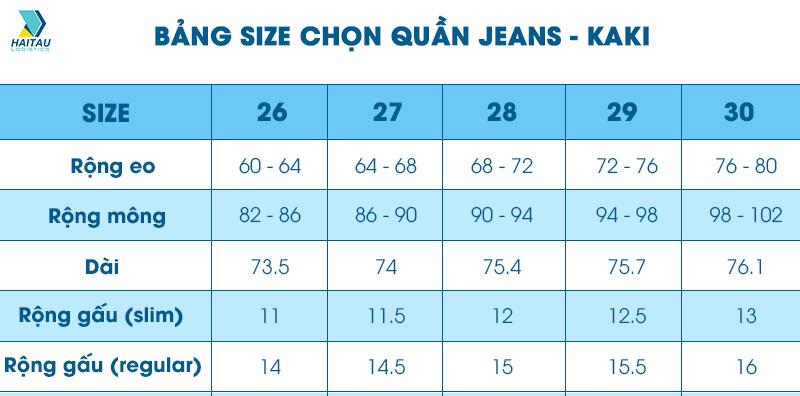 Chọn size quần jean/ kaki cho nữ