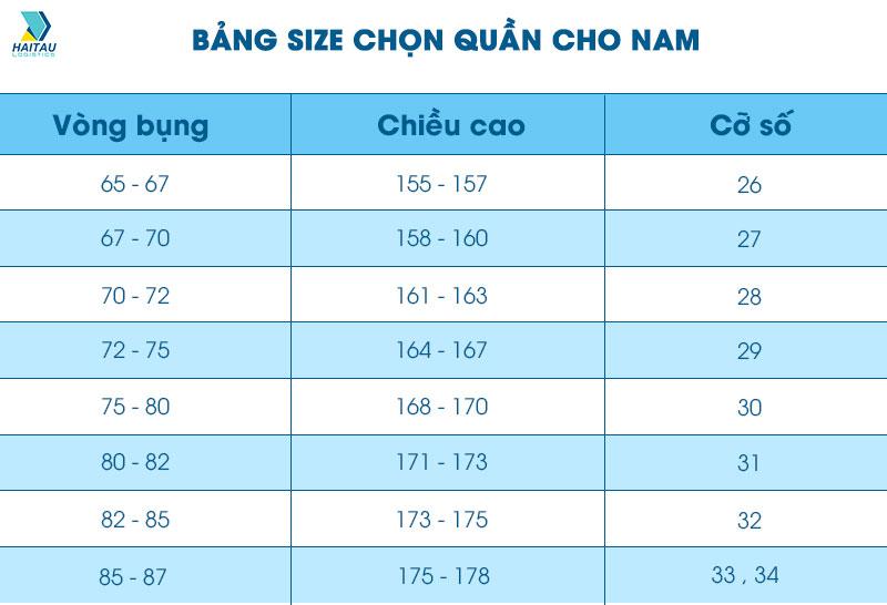 Hướng dẫn chọn size quần cho nam trên Taobao