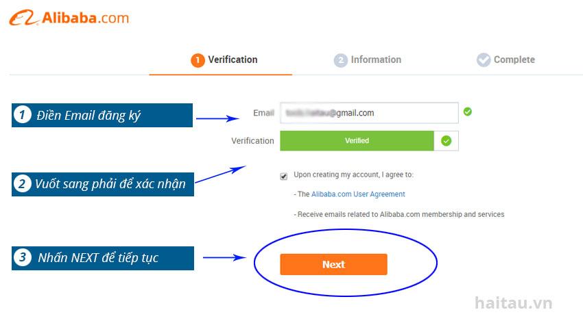 Hình 2. Điền Email đăng ký