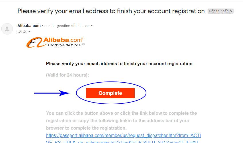 Hình 4. Truy cập Mail để xác nhận đăng ký