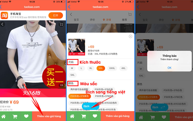 Lựa chọn sản phẩm Taobao