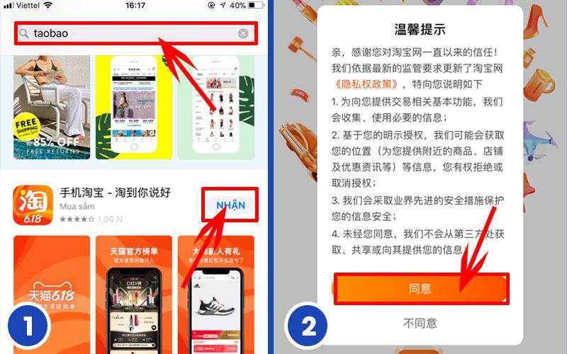 Hướng dẫn tải app mua hàng Taobao