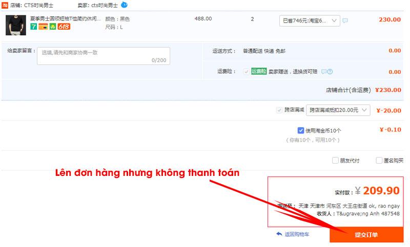 Lên đơn hàng Taobao nhưng không thanh toán