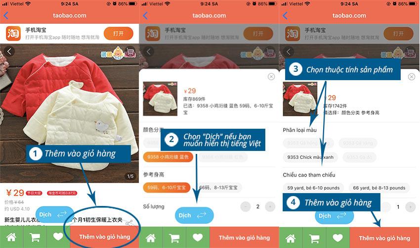 Hình 4. Thêm sản phẩm vào giỏ hàng trên điện thoại